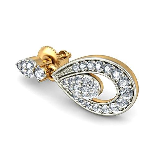 18K Or jaune 0,46CT TW White-diamond (IJ   SI) Pendants d'oreilles