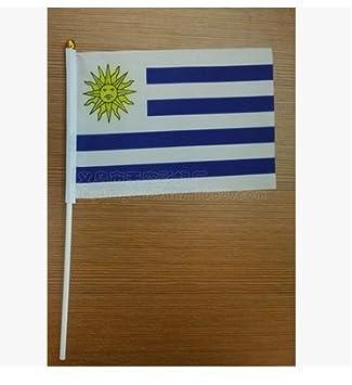 Xiton Mini Bandera de Mano de la Bandera de Uruguay Bandera Redonda Top National Banderas de