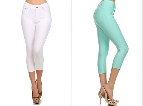 Womens Jegging Capri and Full Length Stretch Pull on Style, Cotton Blend (Single Pack & Multi Pack)
