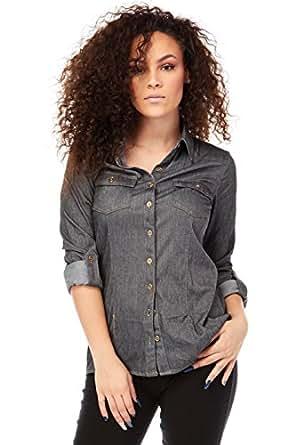 Womens collared rayon denim button down shirts b3844 at for Women s collared button up shirts