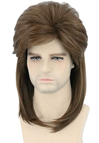 Topcosplay 80s Joe Dirt Wig Brwon Mullet Wig Redneck Wig Mens Wig Halloween Costume Accessories Rock Wigs Wavy -
