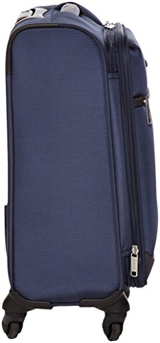 AmazonBasics Softside Spinner Luggage, 18-inch Carry-on/Cabin Size, Navy Blue