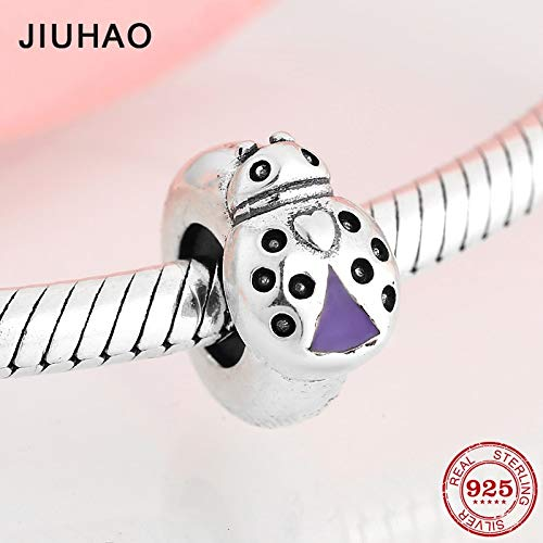 Pukido Real 925 Sterling Silver Purple Enamel Ladybug Spacer Stopper Beads Fit Original Pandora Charm Bracelet Jewelry Making -