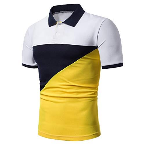 YAYUMI 2019 Summer Men Fit SlimTurn-Down Collar Button Patchwork Short Sleeve Top Blouse Yellow ()