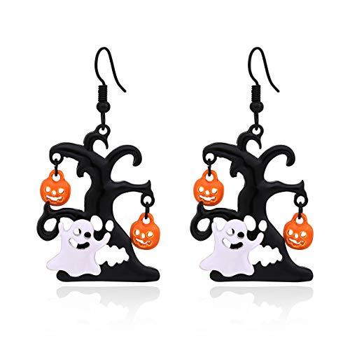 boderier Ghost Earrings Halloween Black Tree and White Ghost Drop Earrings for Women Girls (Black Tree)