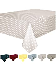 Home Direct Mantel Antimanchas, Resistente a Líquidos 100% poliéster, Rectangular 140 x 180cm Lunares Marfil