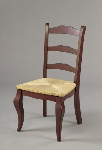 AA Importing Classic Ladder Back Dining Chair W Red Finish U0026 Woven Rush Seat