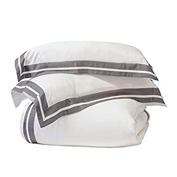Image of Aloha Soft - 100% Viscose from Bamboo - Duvet Cover Set - White with Graphite Border (Queen) Home and Kitchen