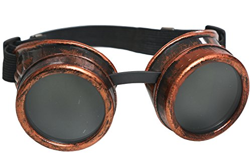 Furiosa Mad Max Costume (XCOSER MM4 Furiosa Goggles Gothic Steampunk Glasses for Costume Props Red Copper)