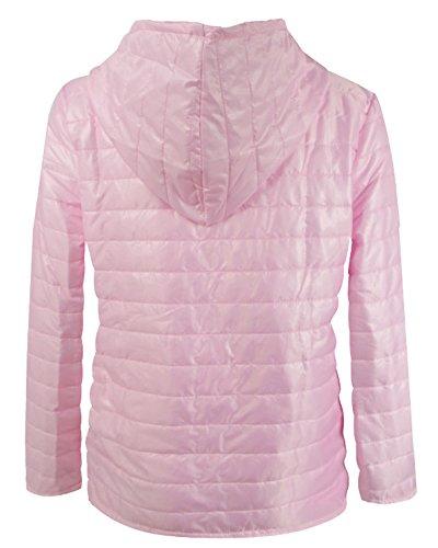 Mujer Pink Acolchada con Abrigo de Capucha Invierno Chaqueta Corta 8gnOW4KEgq