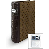 Bellagio-Italia Chestnut DVD Storage Binder - Stores Up To 80 DVDs, CDs, or Blu-Rays - Stores DVD Cover Art - Acid-Free Sheets