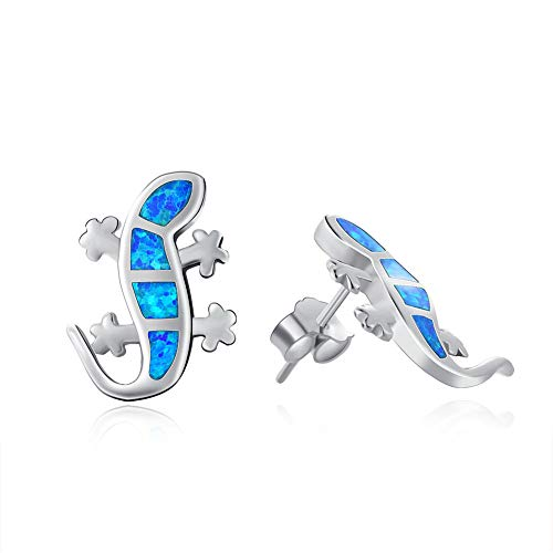 Fancime 925 Sterling Silver Climbing Gecko Lizard Stud Earrings Blue Created Opal Jewelry Gift For Women Girls ()