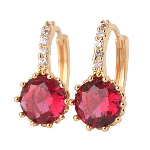 GULICX Yellow Gold Tone Round Ruby Color Designer Vintage Wedding Earrings Hoop