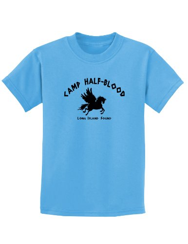 - TooLoud Camp Half Blood Child Tee - Childrens T-Shirt - Aquatic Blue - Medium