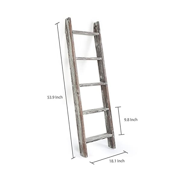 MyGift 4.5-Foot Wall-Leaning Ladder-Style Torched Wood Blanket Rack
