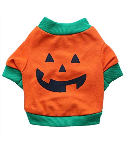 BesserBay Puppy Halloween Zombie Pumpkin Face Printed Orange Suit Costume Pet Dog Cat Cotton Tees Doggie Fall T Shirt
