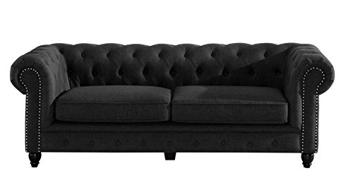 Baxton Studio Wholesale Interiors Cassandra Modern Classic Rolled Arm Linen Upholstered Chesterfield 3 Seater Sofa, Grey (Linen Chesterfield)