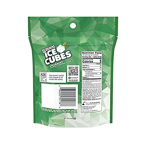 ICE BREAKERS ICE CUBES Sugar Free Spearmint Gum, 8.11 Ounce (8.11 Ounce (Pack of 2))