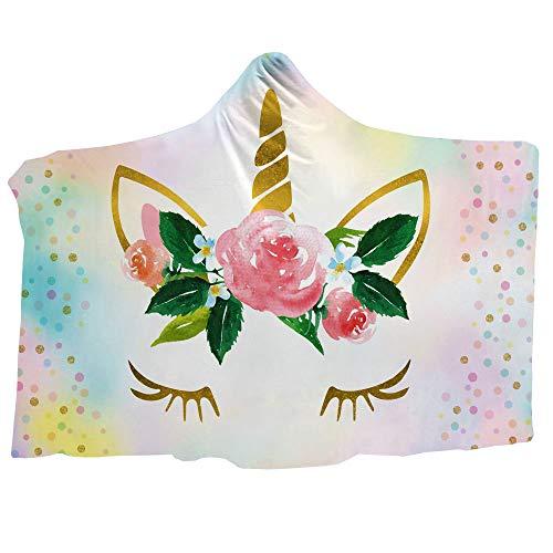 d22971c7d75 Cute Unicorn Blanket Girls Cartoon Unicorn with Flowers Fleece Blanket  Black Sherpa Blanket for Kids Adults