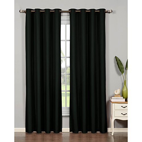 Bella Luna Euphoria Microfiber Room Darkening Extra Wide 54 x 84 in. Grommet Curtain Panel, Black (Black Light Ideas)
