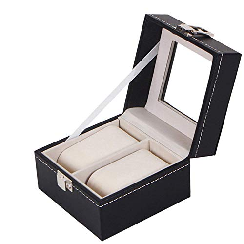 Royal Brands Square Mens Watch Display Box with Glass Top Jewelry Case Organizer (2 Slots) ()