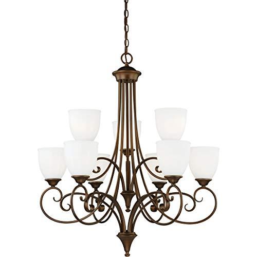 (Chandeliers 9 Light Fixtures with Venetian Bronze Finish Steel Material Medium 31