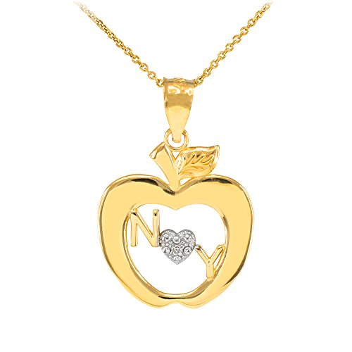 Collier Femme Pendentif 14 Ct Or Jaune New York Big Pomme Diamant (Livré avec une 45cm Chaîne)