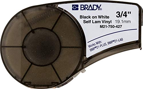 Brady Self-Laminating Vinyl Label Tape (M21-750-427) - Black on White, Translucent Tape - Compatible with BMP21-PLUS Label Printer - 14' Length.75