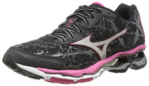 Mizuno Women's Wave Creation 16 Running Shoe, Black/Silver, 6 B US
