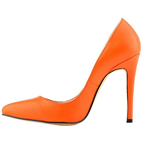 Pumps Womens Shoes Dethan Toe PU Fashion Pointed Heel Prom Party Wedding Thin Sexy Dress High Orange Leather 74Zdw