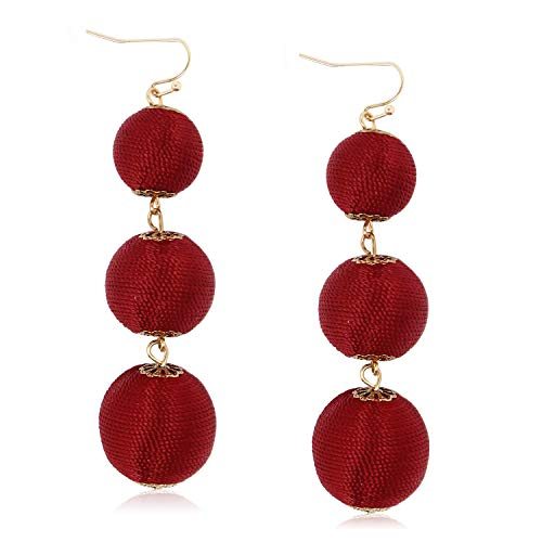 Womens Triple Garnet Red Drop Ball Earrings Long Ruby Tassels Hanging Balls Boho Earrings for Girls