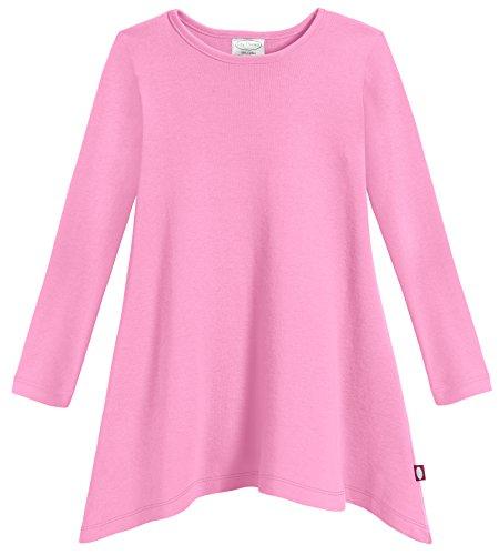City Threads Girls Shark Bite Long Sleeve Tunic Top Blouse Shirt Stylish Modern all Cotton for Sensitive Skins SPD Sensory Friendly, Medium Pink, 8