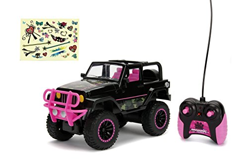 Jada Toys Girlmazing Jeep Wrangler RC Car, 1: 16 Scale Remote Control, Black & Camo ()