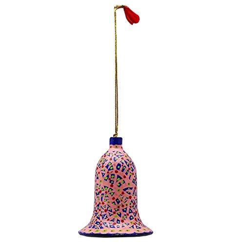 Papier Mache Bell (Pink Kashmir Paper Papier Mache Christmas Tree Ornaments Bell Craft)