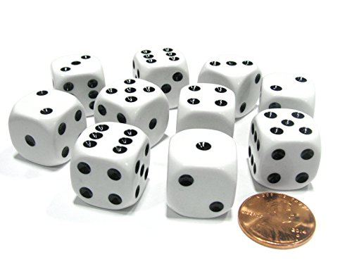 - Koplow Games Set of 10 Six Sided Round Corner Opaque 16mm D6 Dice - White with Black Pip