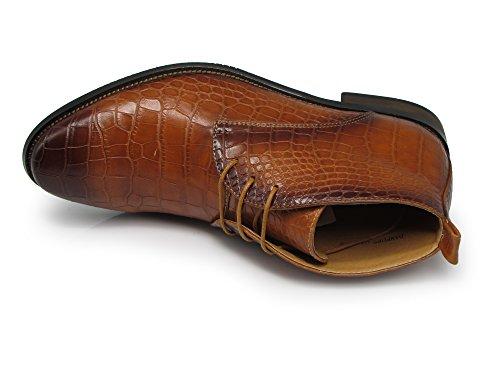 Enzo Romeo Df2 Hommes Robe Bottes Alligator Crocodile Impression Chelsea Chukka Cheville Lace Up Mode Bottes Courtes Marron