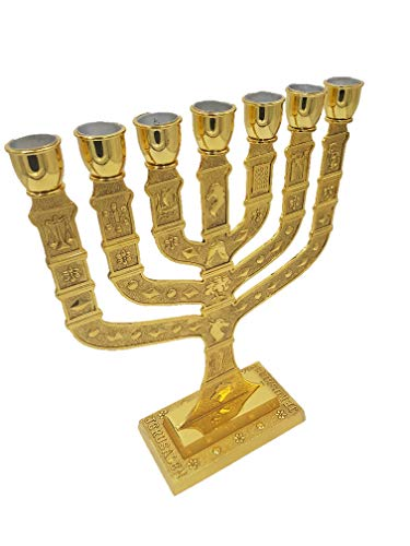 - Yaliland Large Authentic Menorah in Gold Plated with 12 Signs from Jerusalem 14