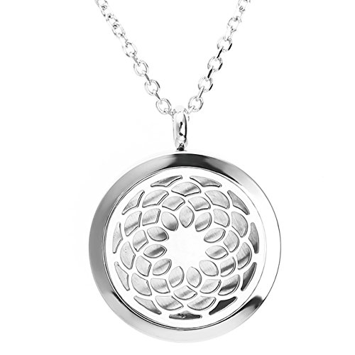 Steel Round Pendant Surgical - JOVIVI Stainless Steel Round Sahasrara Chakra Aromatherapy Essential Oil Diffuser Locket Necklace