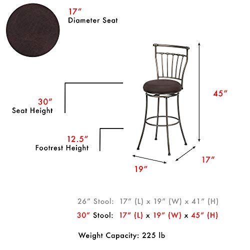 Leggett Platt Topeka Swivel Seat Bar Stool with Striated Silver Finished Metal Frame and Coffee Faux Leather Upholstery, 30-Inch Seat Height