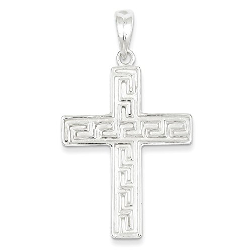 .925 Sterling Silver Greek Key Design Latin Cross Charm Pendant