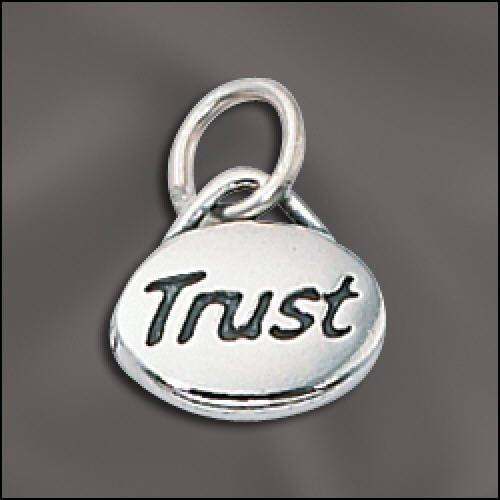 Charm Trust Message Charm  925 Sterling Silver
