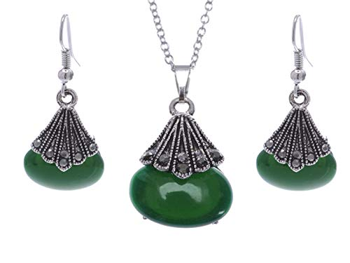 Alilang Silvery Tone Faux Dark Green Jade Asian Gray Rhinestone Fashion Necklace Earring Set