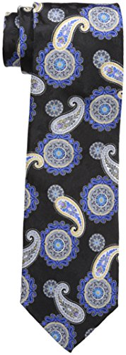 - Geoffrey Beene Men's Medallion Paisley Tie, black, One Size