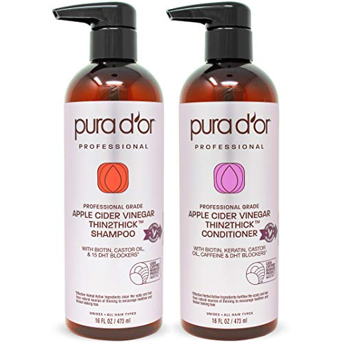 PURA D'OR Professional Grade Biotin Red Apple Cider Vinegar Thin2Thick Shampoo & Conditioner Set (16oz x 2) Keratin, Caffeine, Castor Oil Sulfate Free, Natural Ingredients: All Hair Types, Men & Women (Best Shampoo With Natural Ingredients)