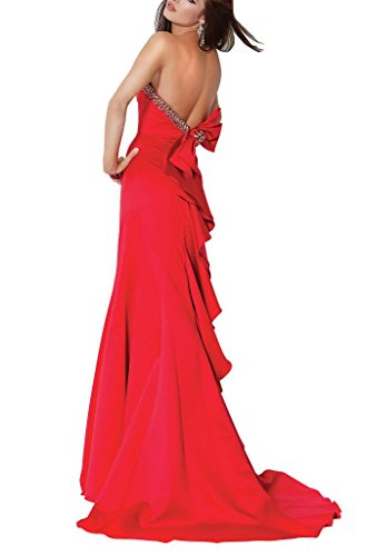 Satin Ausschnitt BRIDE Mantel Zug Schatz Sweep Roter Perlen Abendkleid GEORGE Rot 7n4xn