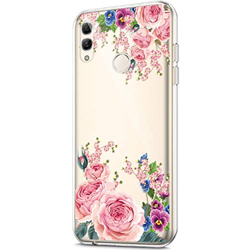 - Case for Huawei P Smart 2019,Crystal Clear Art Panited Design Soft Flexible TPU Ultra-Thin Transparent Rubber Gel TPU Protective Case Cover for Huawei P Smart 2019 Silicone Case,Pink peony flower