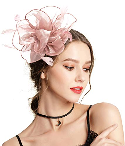 Z&X Fascinator Hat Flower Feathers on Headband and Clip Tea Party Headpiece for Ladies Girls Nude Pink