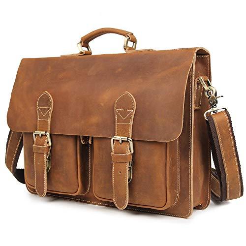 (Polare Mens Full Grain Leather Removeable Padding Briefcase Messenger Bag Satchel Fit 14''Laptop)