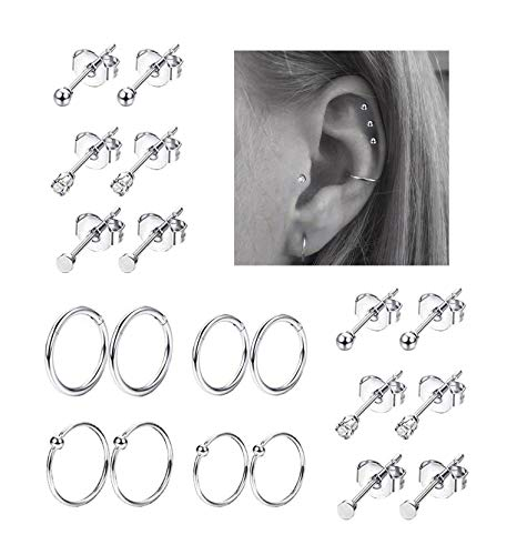 REVOLIA 20Pcs Stainless Steel Nose Ring Hoop Septum Piercing Cliker Ring Cartilage Stud Earrings Ball CZ Tragus Helix Piercing S