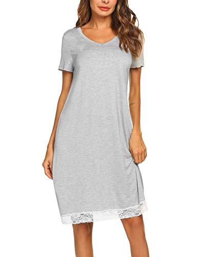 Ekouaer Loose Pregnant Nursing Robe Nightgown Sleep Dress Breastfeeding Nightshirt Grey M